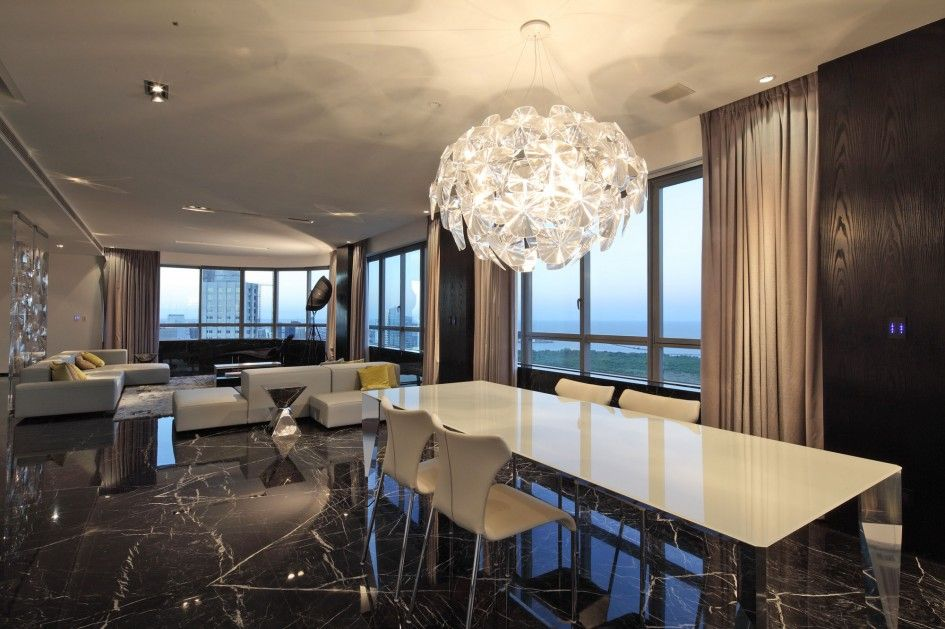 Architecture, Glass Chandelier For Dining Room And 4 White Dining Chair And White Dining Table Plus Black Wood Wall Covering Ideas Panels An...