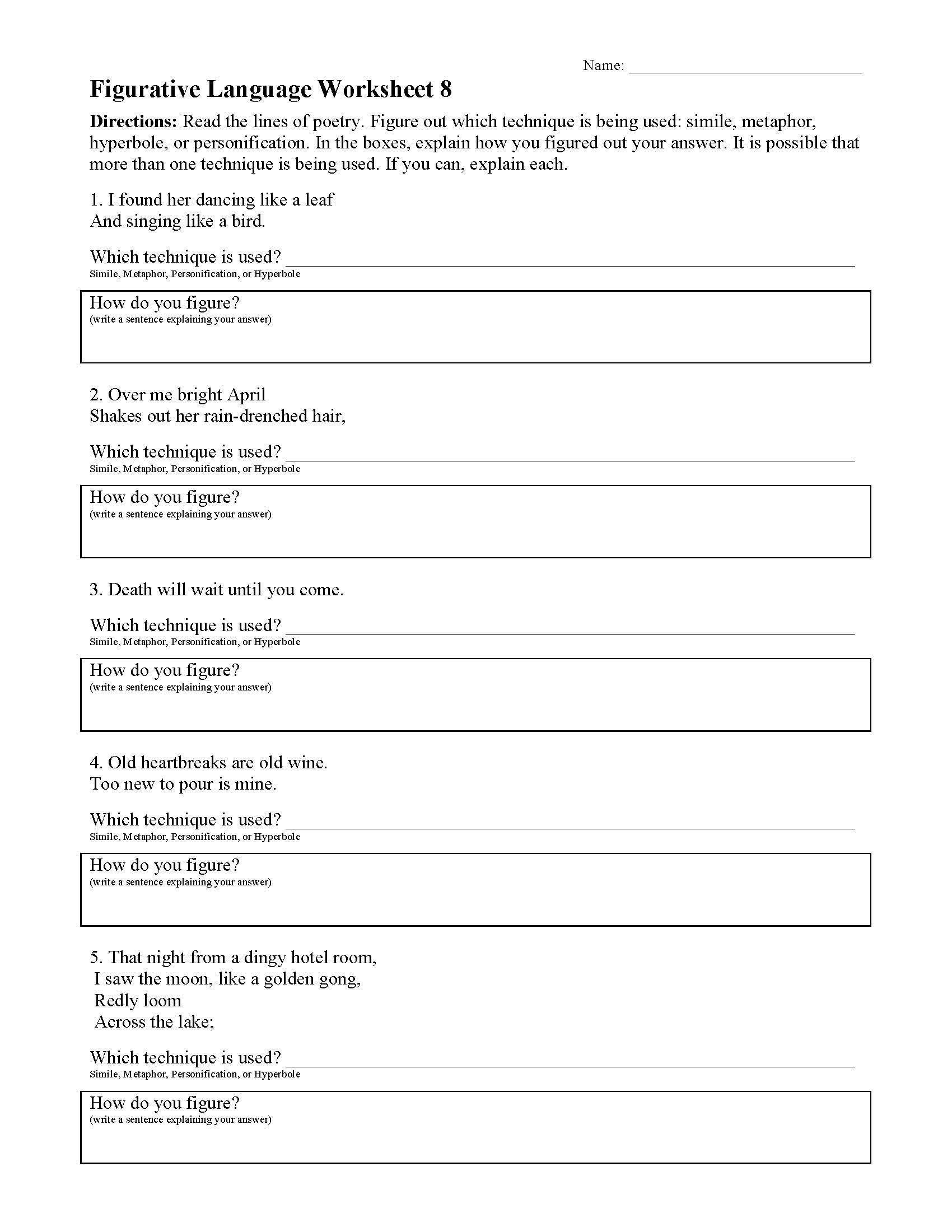 Figurative Language 5th Grade Worksheets Figurative Language Worksheets In 2020 Language Worksheets Poetry Worksheets Figurative Language Worksheet