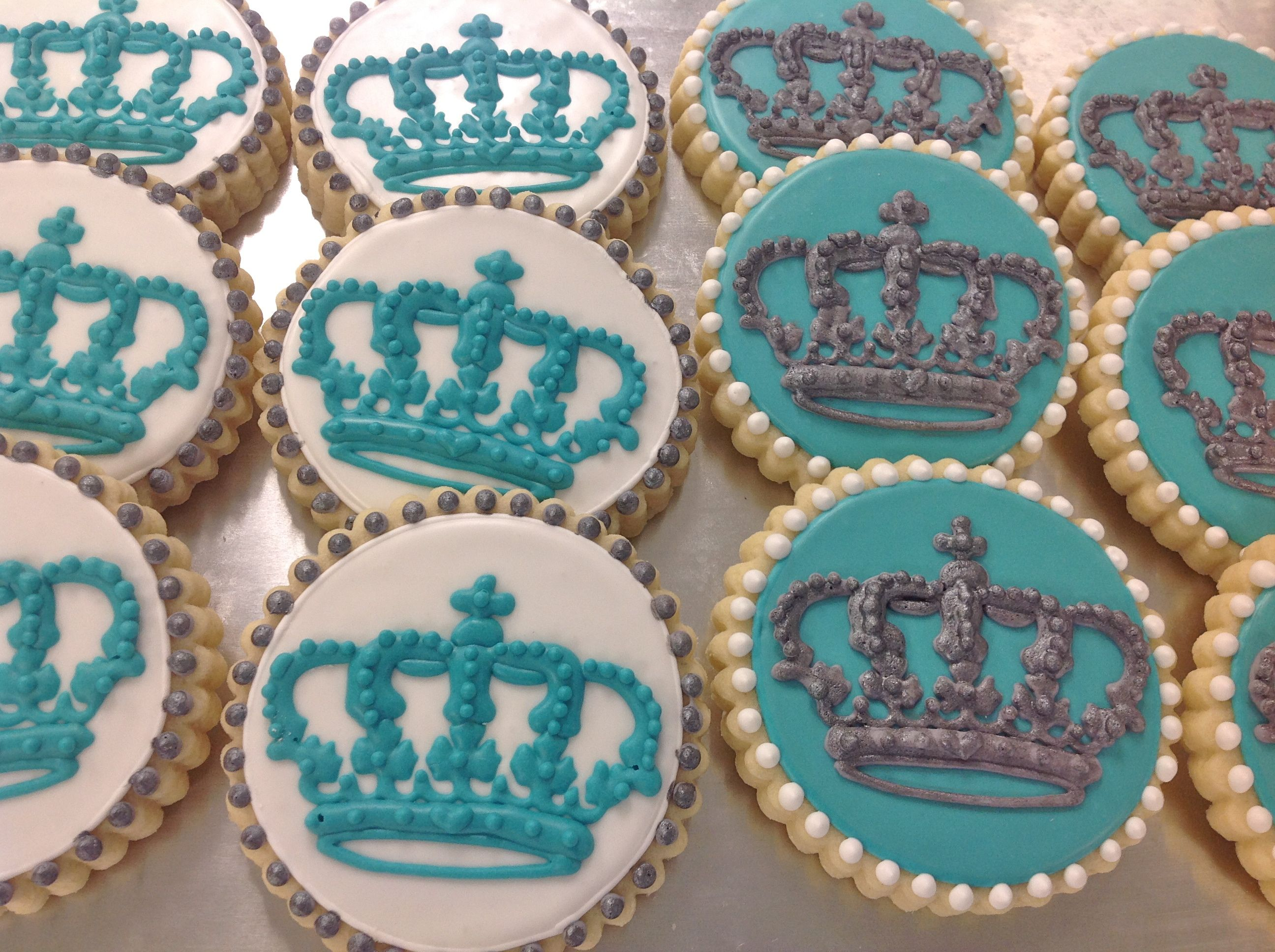 Elegant Crown cookies for a baby shower tiffany blue and silver