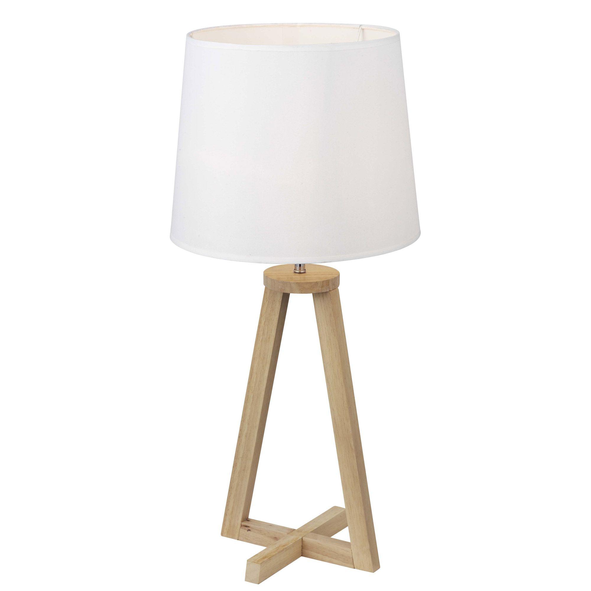 Lampe  poser pied en bois avec abat jour en tissu blanc hauteur
