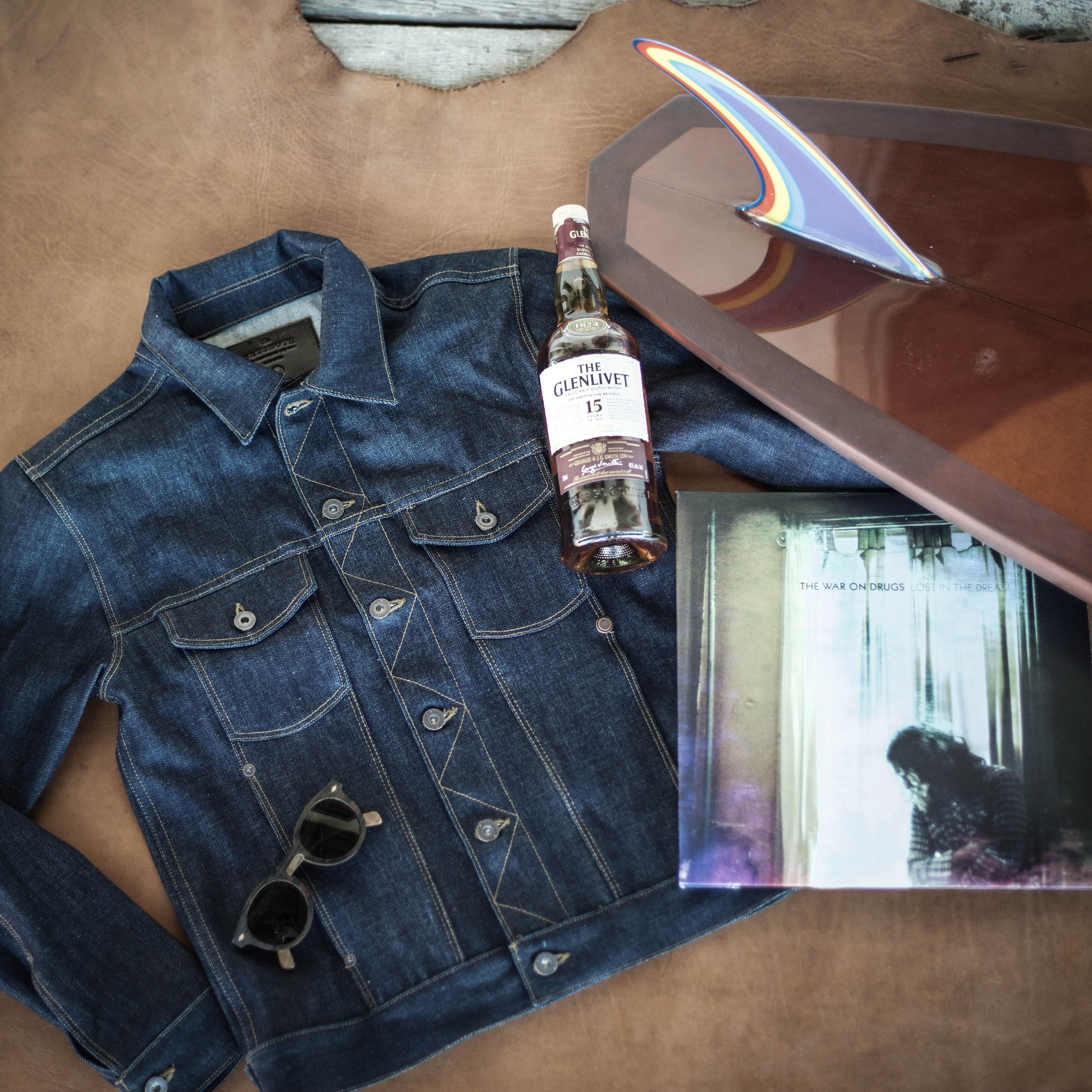THINGS WE LOVE: Freenote Classic Denim Jacket, Glenlivet Single Malt Scotch Whisky, Shaper Supply board, Shwood Eyewear shades & The War On Drugs vinyl  #freenotecloth #surf #mensfashion #denimjacket #vinyl #whiskey