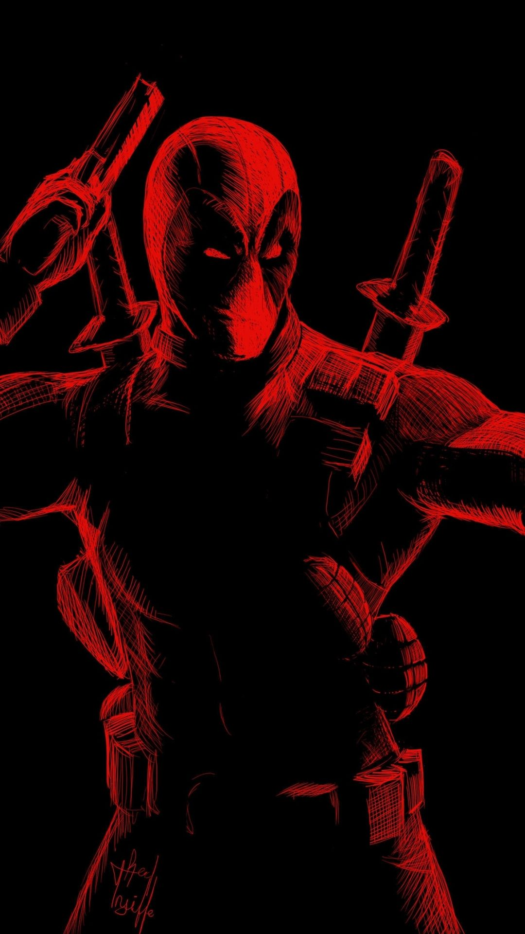 Red Line Arts Deadpool 1080x1920 Wallpaper Deadpool Wallpaper Deadpool Artwork Deadpool Art
