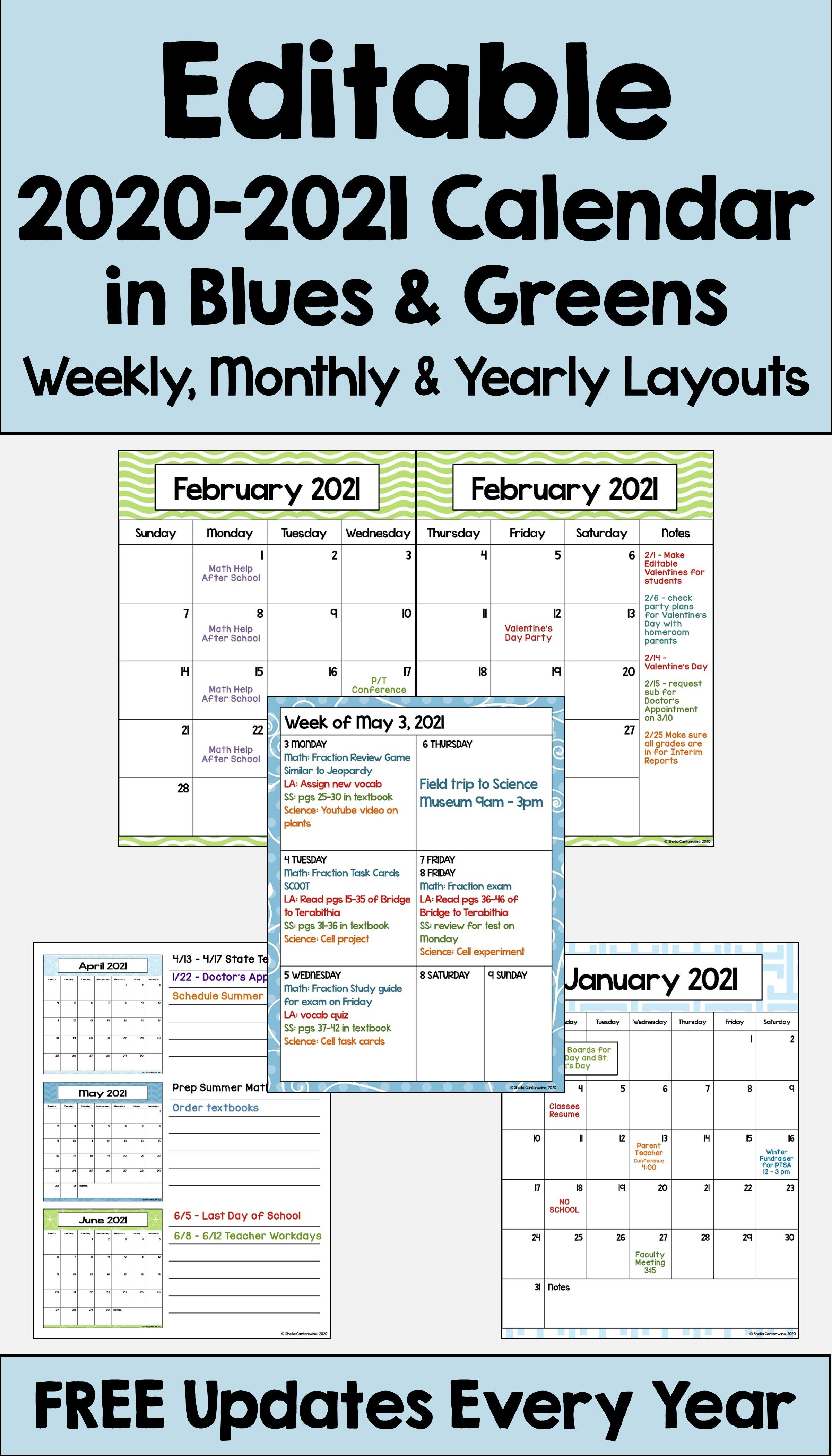 2020 2021 Calendar Printable And Editable With Free Updates In Blues And Greens In 2020 Teacher Planner Printables Teacher Planner Free Teacher Planner