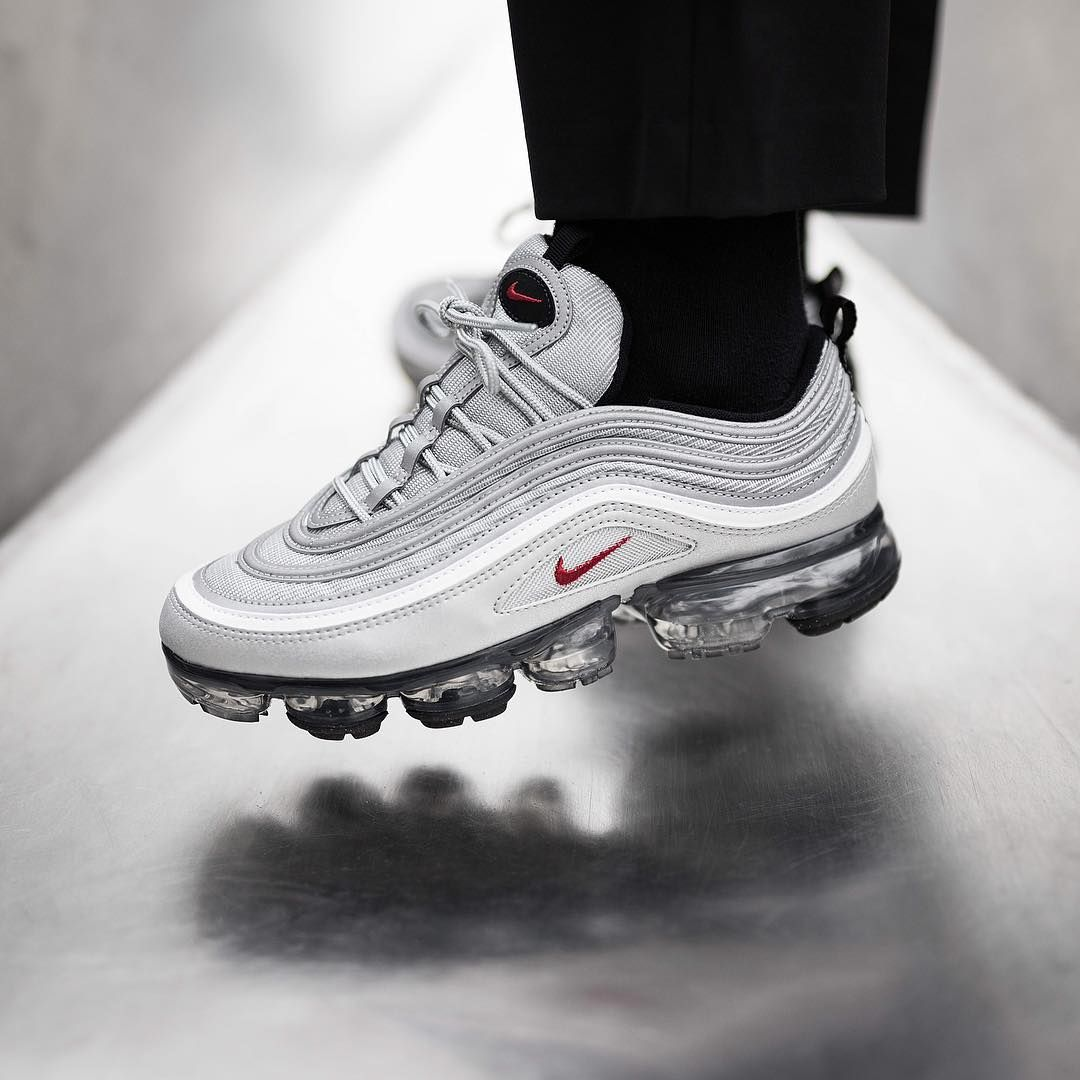 afed51c844 Release Date : March 30, 2018 Nike Air Vapormax 97 Metallic Silver /  Varsity Red Credit : Superstore