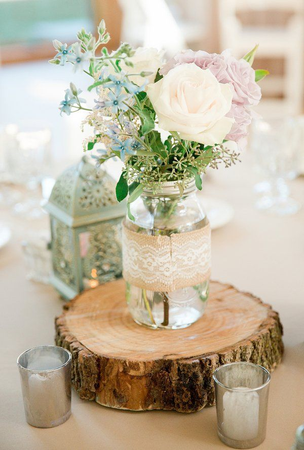 Rustic inspired outdoor wedding rustic wedding for Center arrangements for weddings