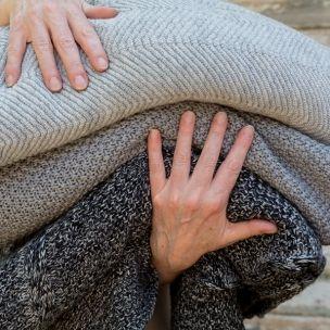 Moss   fishbone Extrafine Merino Wool knit blankets