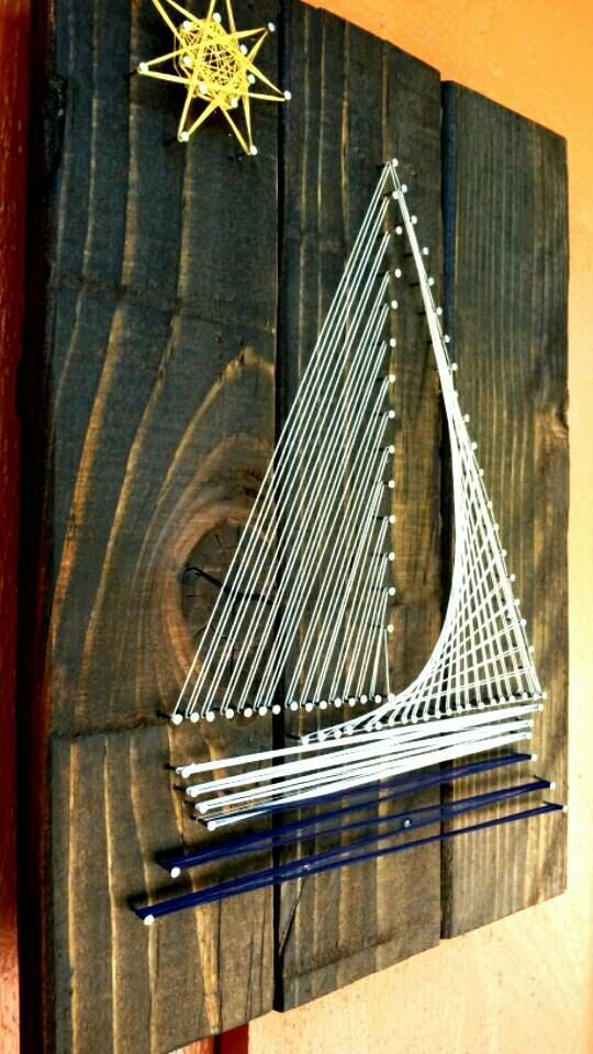 This is a string art sign I made by hand-cutting a... - #Art #handcutting #sign #stain #String #stainedwood