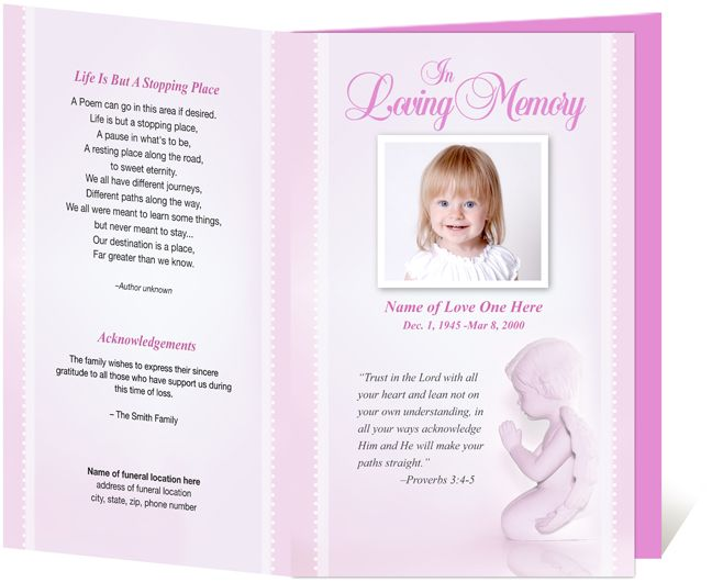 For Child/Baby Memorial Service Programs: Letter Single Fold : Angela Funeral  Program Template