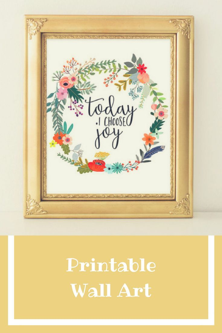 Quote Printable Wall Art, Today I choose joy printable quote home ...