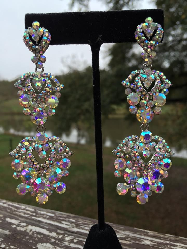 AB Chandelier Earrings | 202-15 Beautiful long AB stone chandelier ...