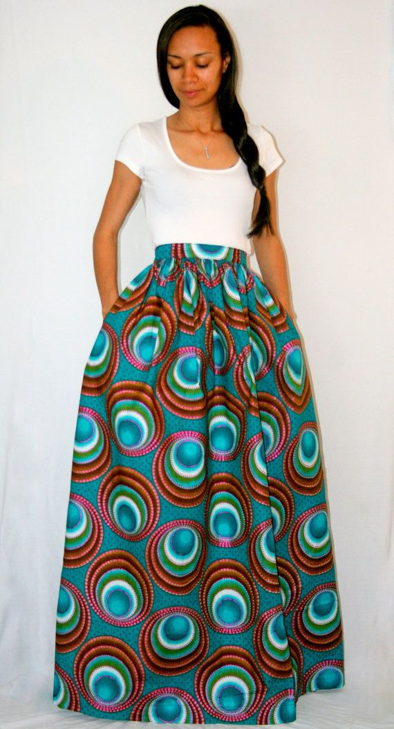 8af998f9ae9d African Print Maxi Skirt with pockets by MelangeMode on Etsy~Latest African  Fashion
