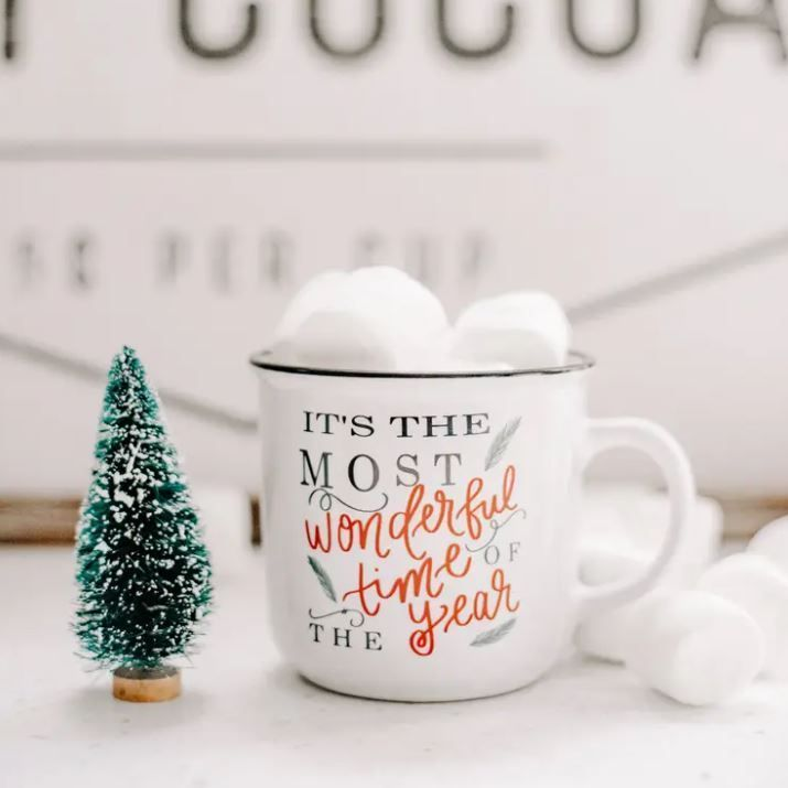 Kick off the #mostwonderfultimeoftheyear with this holiday mug! Perfect for hot cocoa. #christmasmug #christmasdecor