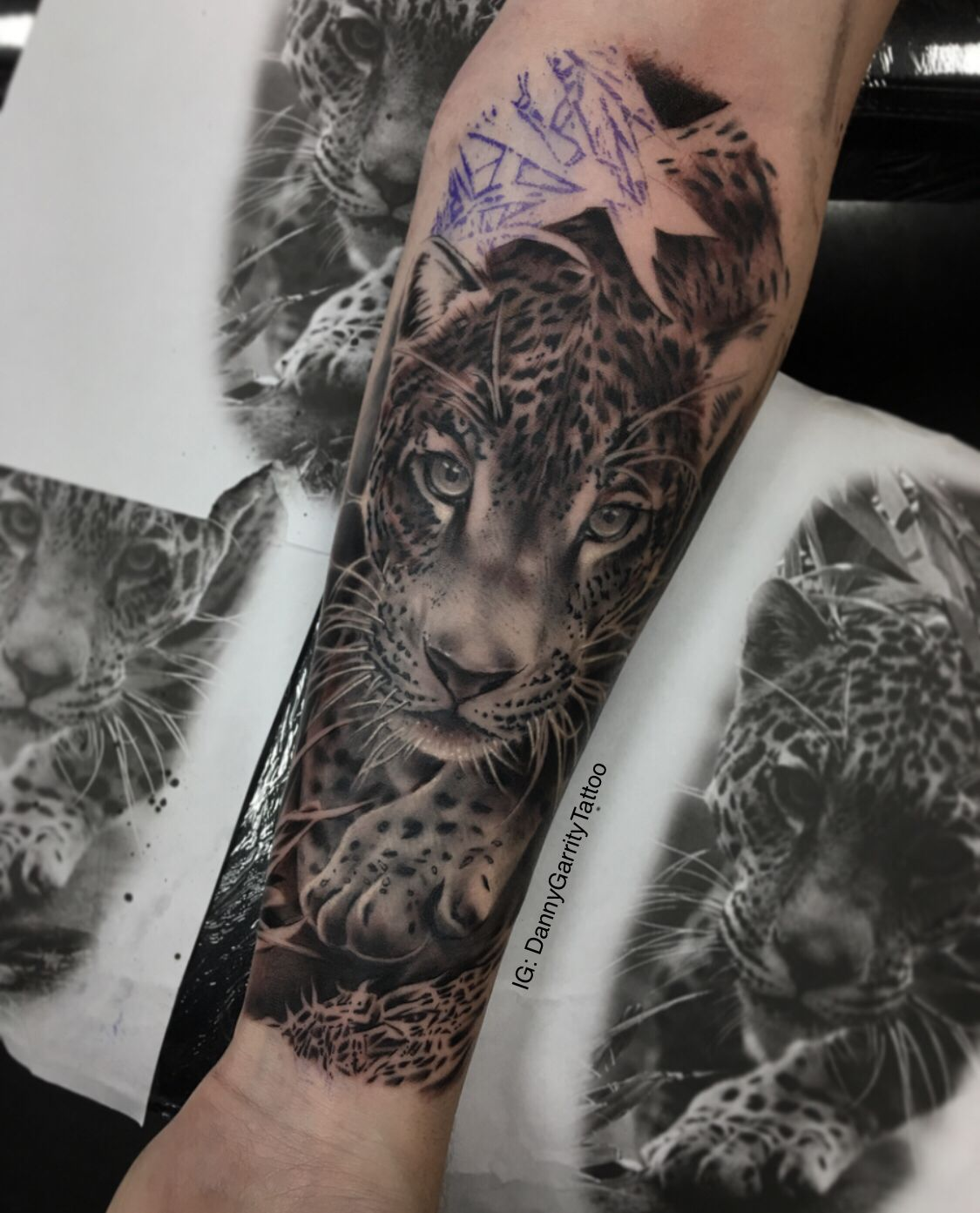 7ee39d1f39a8c Leopard forearm realistic tattoo almost finished | Tattoos | Leopard ...