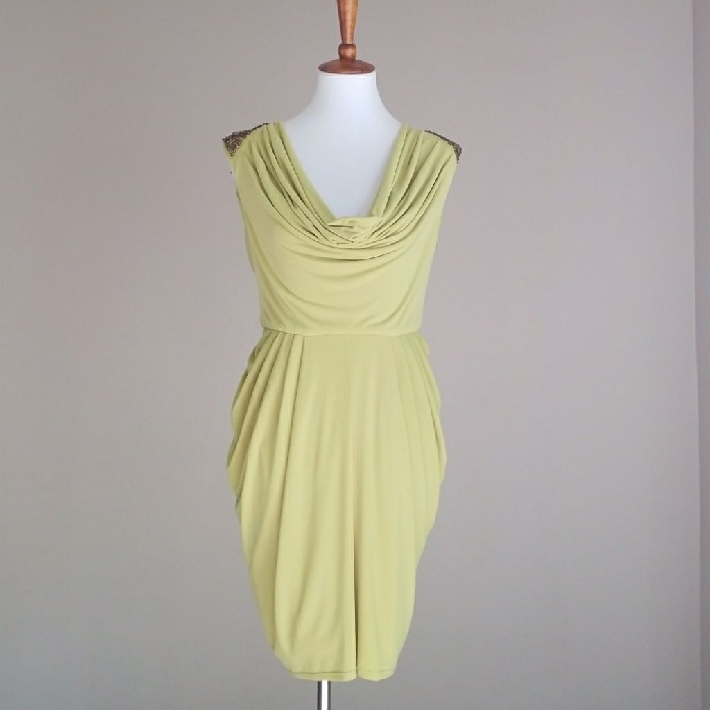 Jessica Simpson Cowlneck Dress W/Bronze Beading