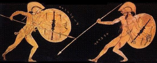 Achilles battling Hector, 5th century BCE