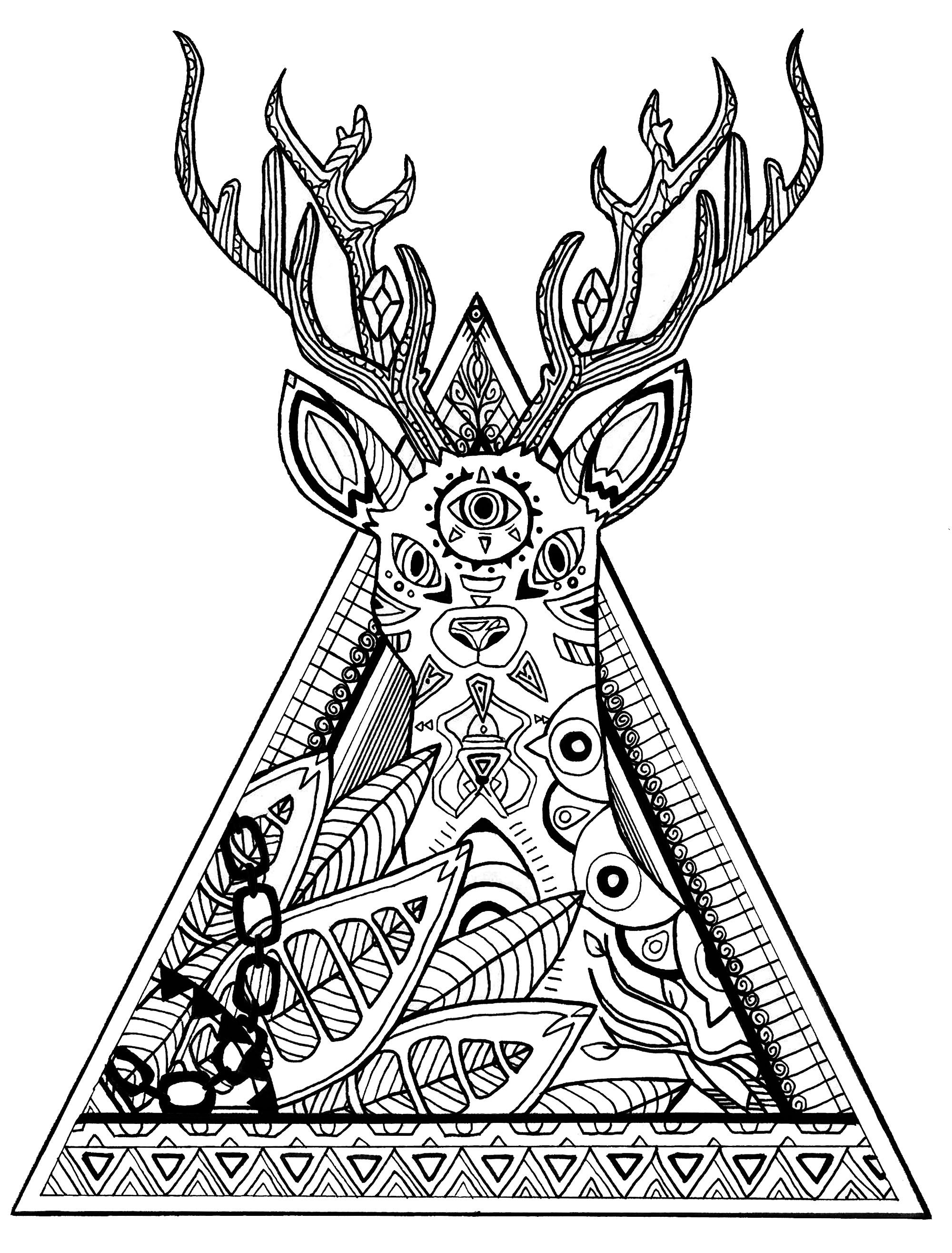 Deer in a triangle Deers Adult Coloring Pages ADULT