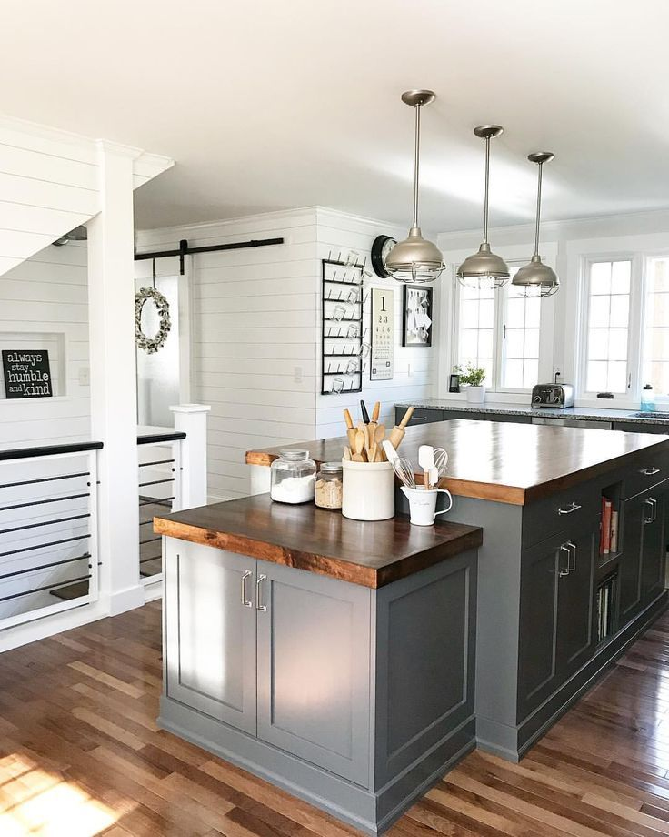 Best Gray Lower Cabinets In Kitchen Love The Butcher Block 640 x 480