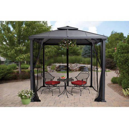 Better Homes Gardens Sullivan Ridge 8 X 8 Hard Top Gazebo With Netting Walmart Com Gazebo Pergola With Roof Hardtop Gazebo