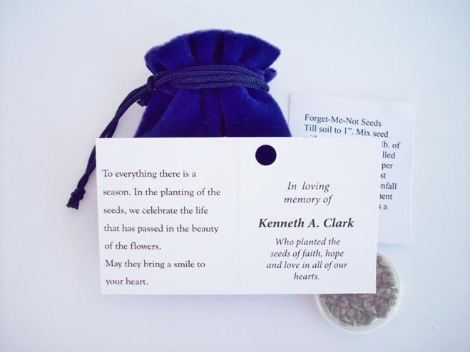 Forget Me Not Seed Packets Personalized Flower Seed Pouches Forget Me Not Seeds Celebration Of Life Funeral Gifts