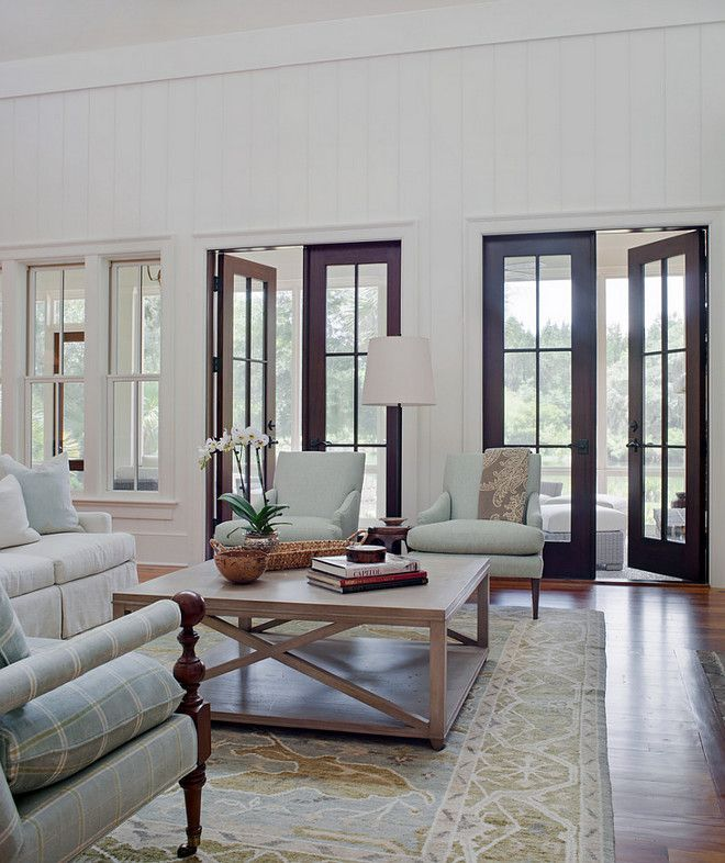 Living Room With Mahogany French Doors Pearce Scott Architects