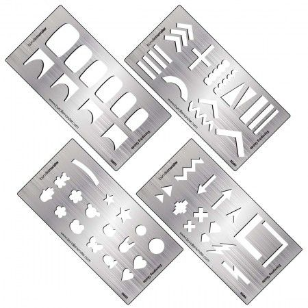 4pc Metal Nail Stamping Decal Making Guide Templates from Rainbow - guide templates