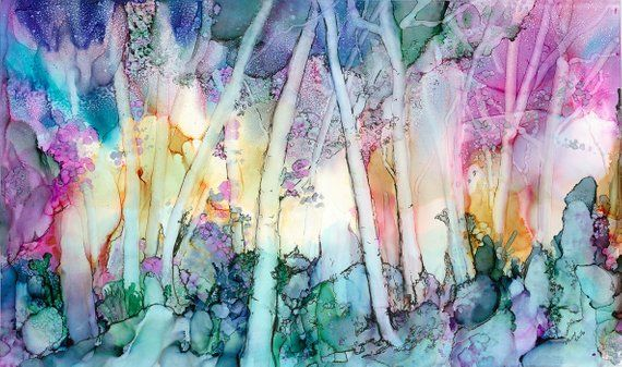 Alcohol Ink Art Print Enchanted Forest on Watercolor Paper with Matt #alcoholinkcrafts