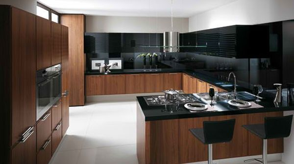 Most Classy Look Of Black Kitchen Design Interior: The Wooden ...