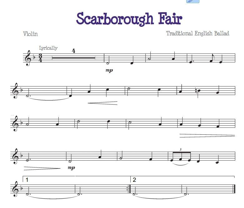 Lyric scarborough fair lyrics and sheet music : Scarborough Fair for the beginner violinist | Free Beginners Sheet ...