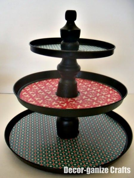 Cake/Candy tiers made from Dollar Tree stove burner covers! tutorials-for-cake-decor-party-display-ideas