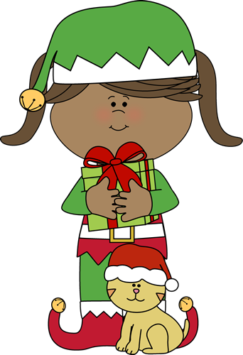 Girl Christmas Elf with Christmas Cat | Christmas Clip Art ...
