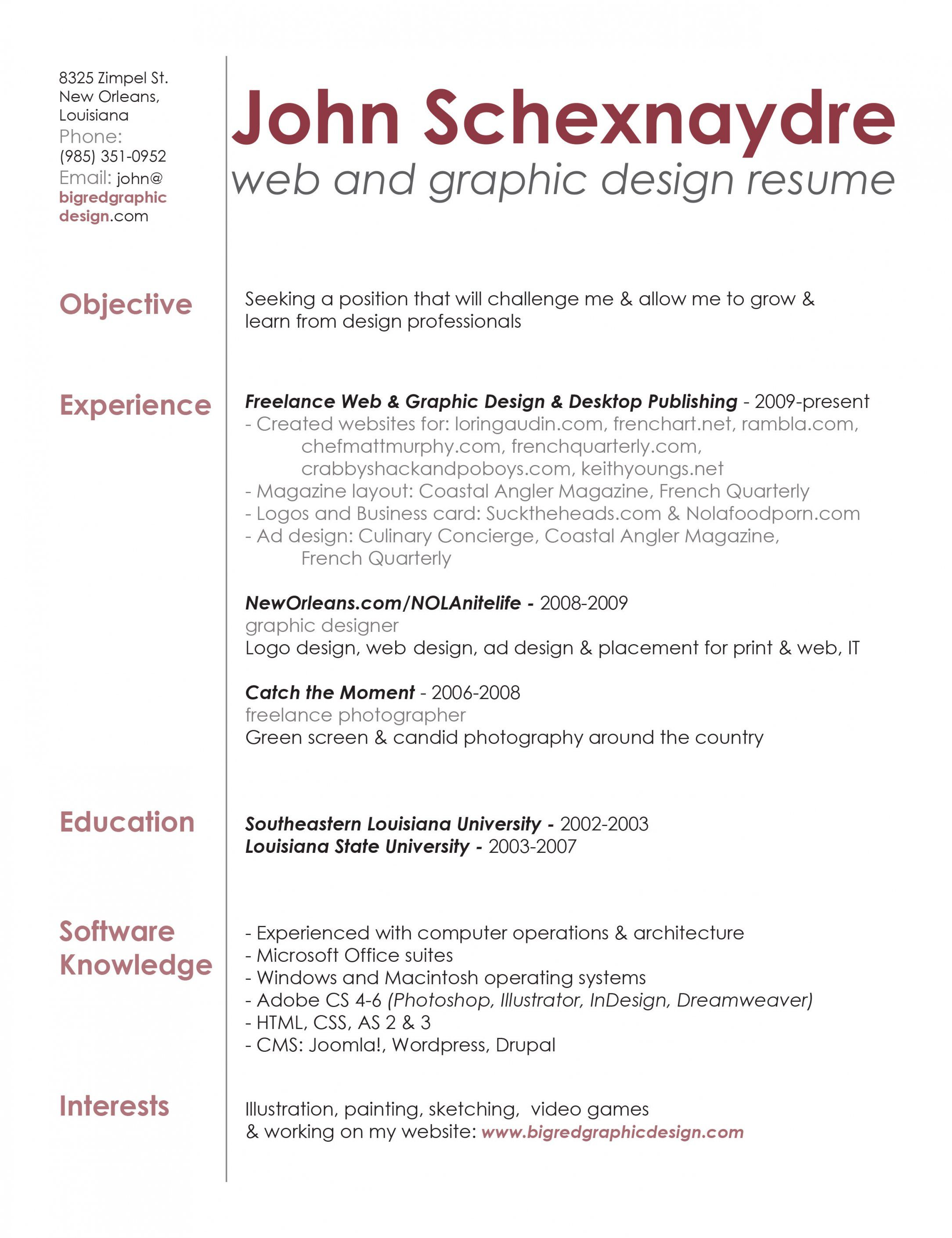 Contemporary Web Designing Resume For Fresher Vignette Graphic Design Resume Resume Design Freelance Graphic Design