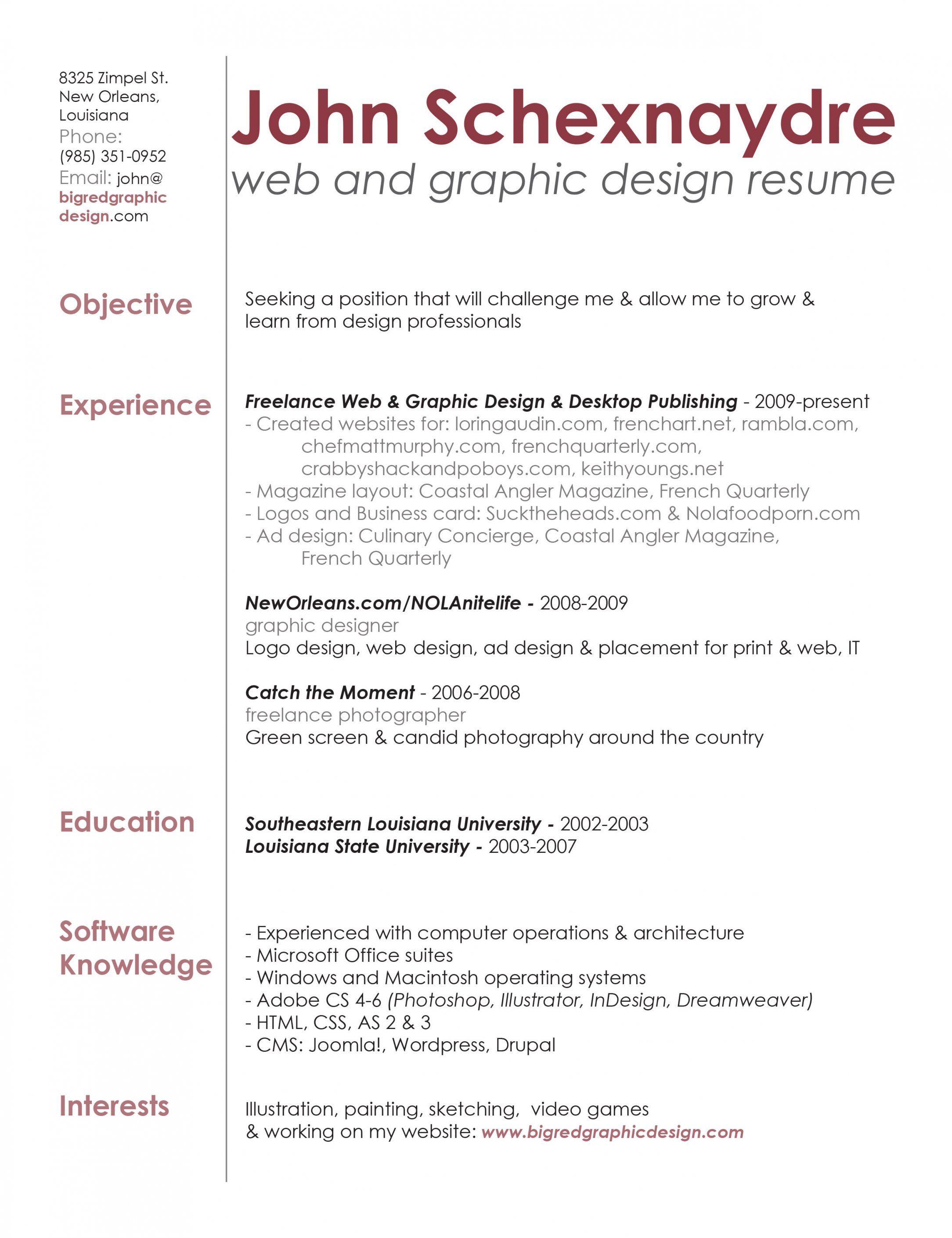 Contemporary Web Designing Resume For Fresher Vignette Graphic Design Resume Resume Design Graphic Resume