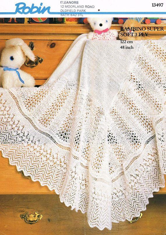 Robin 13497 baby shawl vintage knitting pattern PDF by Ellisadine, £1.00