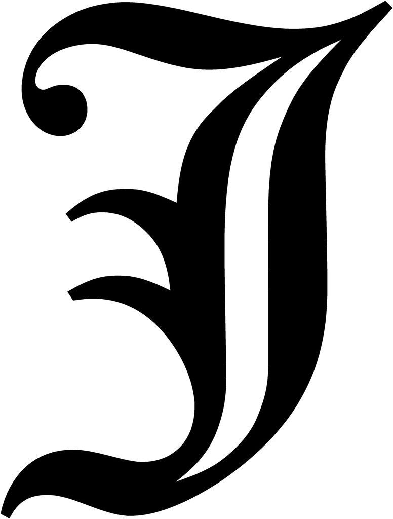 $5.5   Old English Letter J Initial Decal 5.75