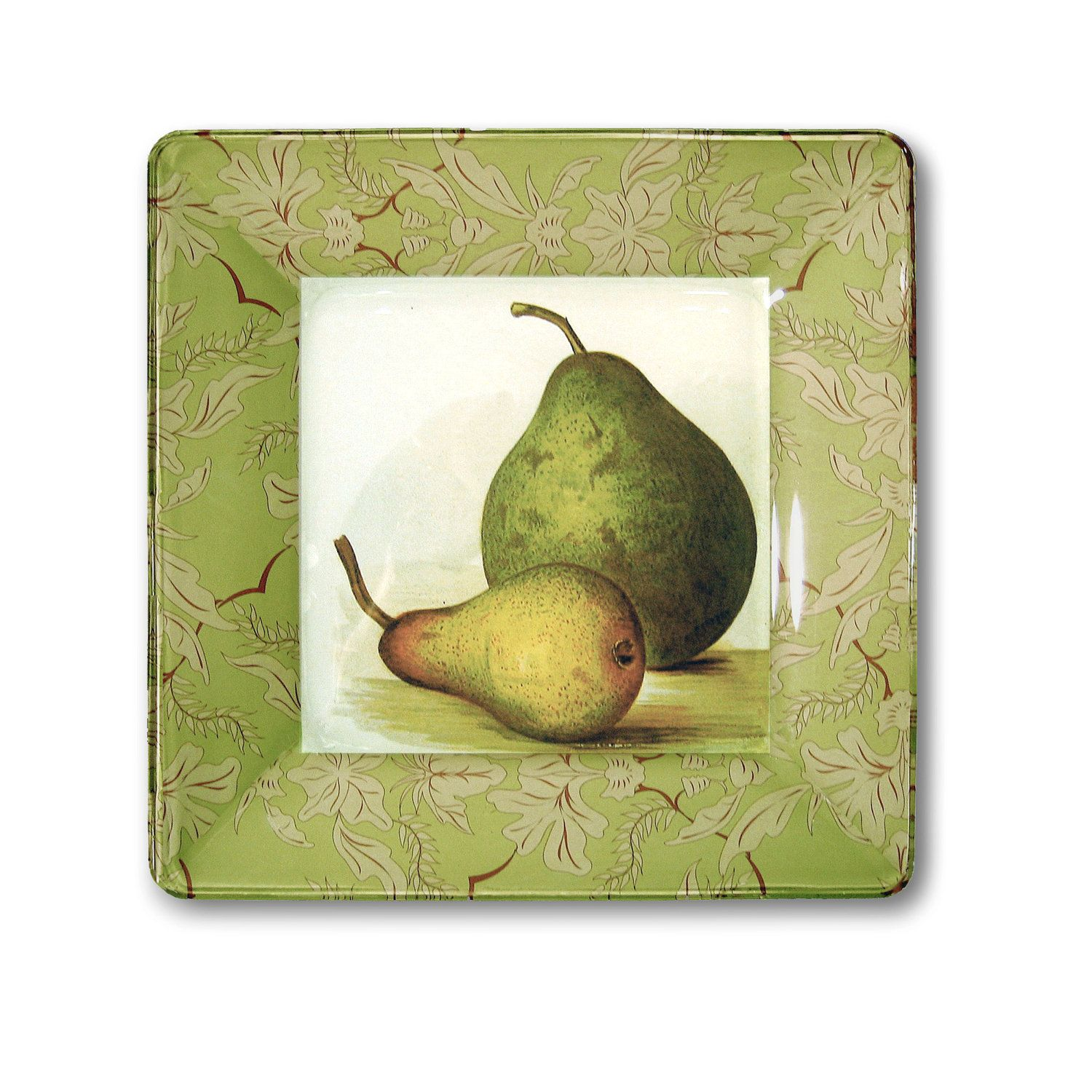 Pears hanging plate kitchen decor botanical print decoupage plate ...