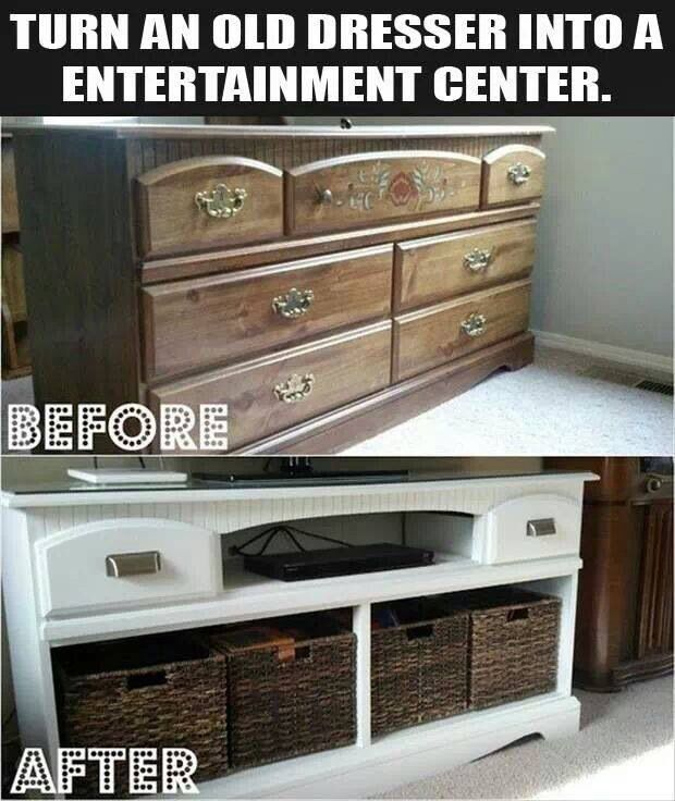 Fantastic way to turn a dresser into an entertainment center.