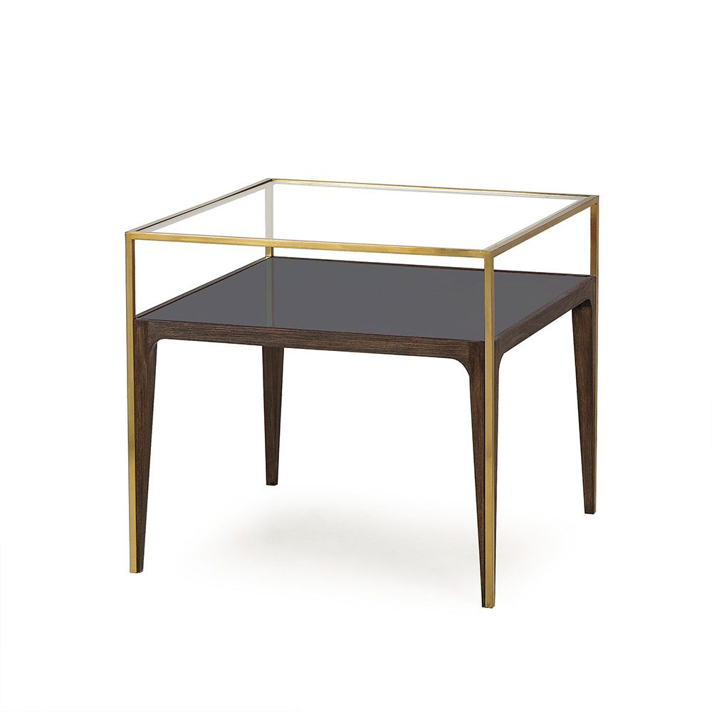 A Sophisticated Side Table Crafted From A Solid Beech Wood Frame With A Walnut Stain Accented With Stainless Steel Silhouette Details Wi Glass Side Tables Glass