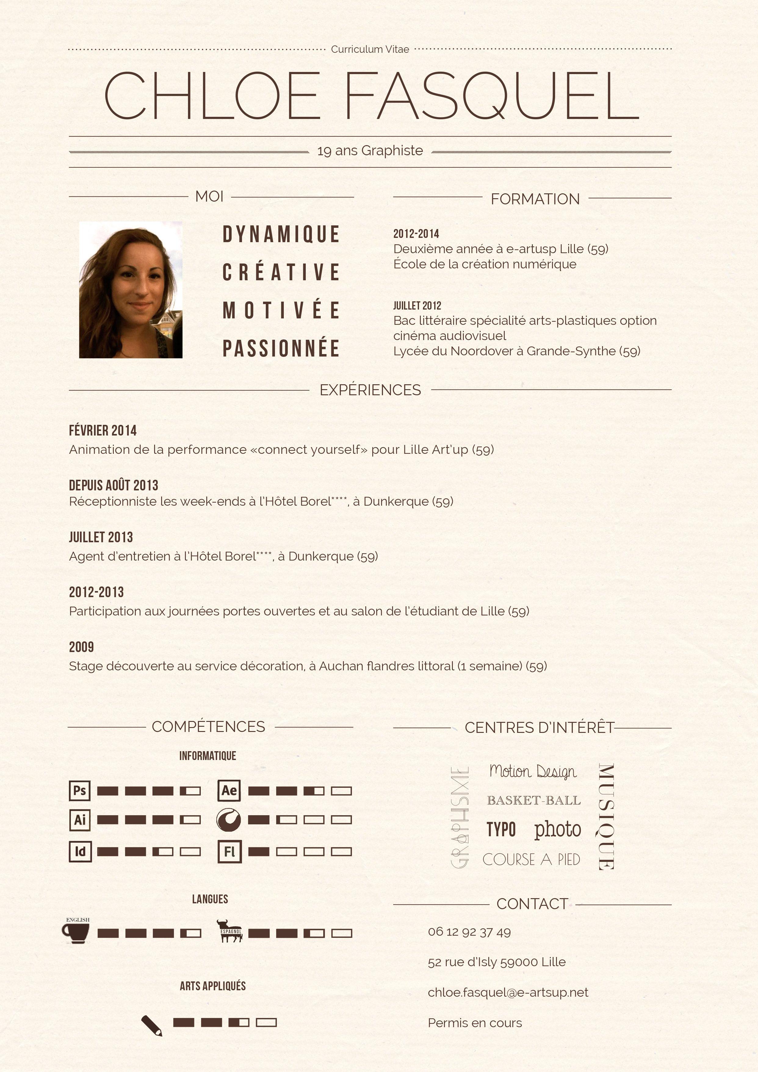 CV Chloé Fasquel Curriculum vitae, Réceptionniste, Lycée