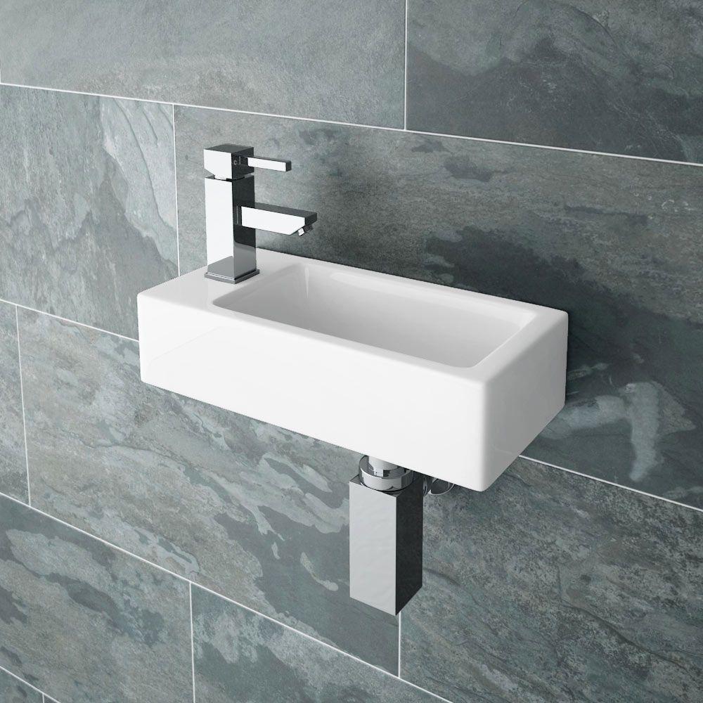 Rondo Wall Hung Small Cloakroom Basin R H 1th 365 X
