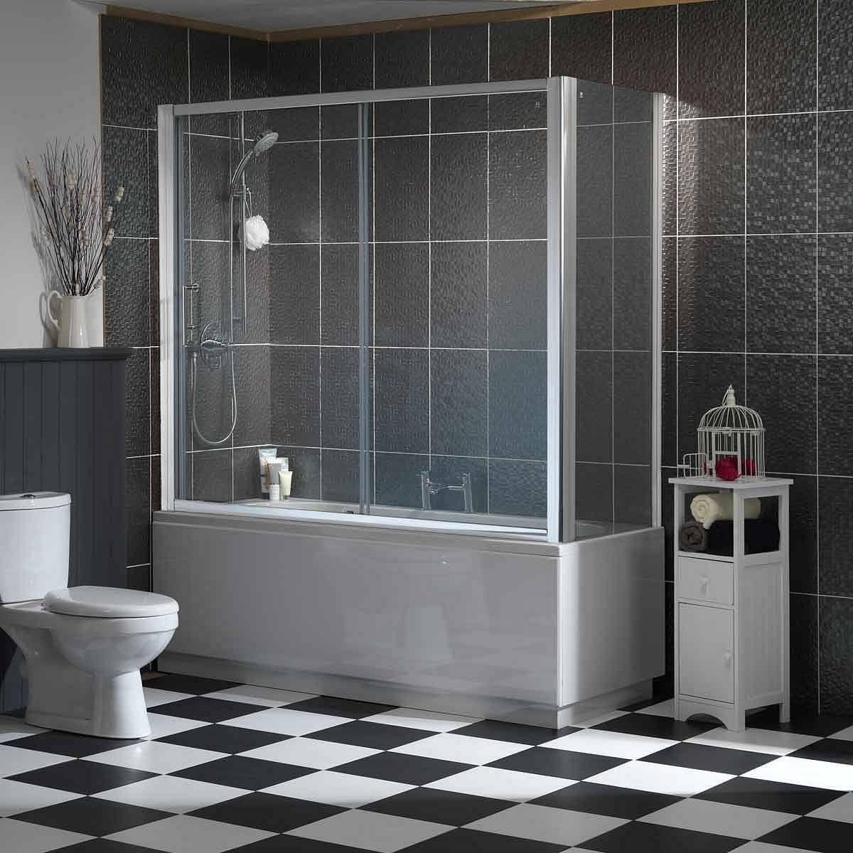 Sliding Door Straight Shower Bath Enclosure 1700 X 700 Straight Baths Bathroom Design Inspiration Bathroom Furniture Uk