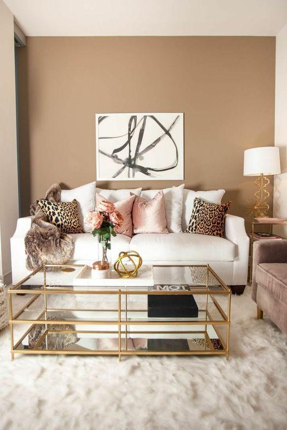 Muebles Para Salas Modernas Color Dorado En 2020 Pintar La Sala Colores Para Sala Comedor Colores Para Sala