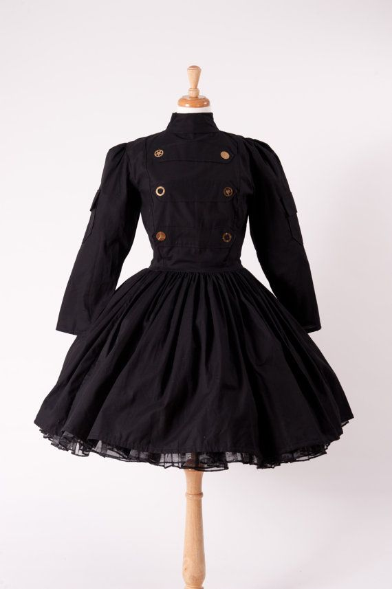 468f30efb5 Steampunk Military Dress Gothic Goth Dress Lolita Dress Black Dress with  Gears Womens Handmade Halloween Costume Cosplay Custom Size Plus