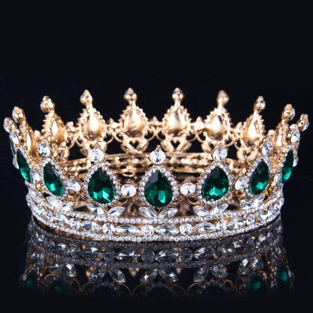 2017 녹색 크리스탈 골드 컬러 세련된 로얄 리갈 반짝 모조 다이아몬드 왕관과 크라운 신부 성인식 선발 대회 왕관