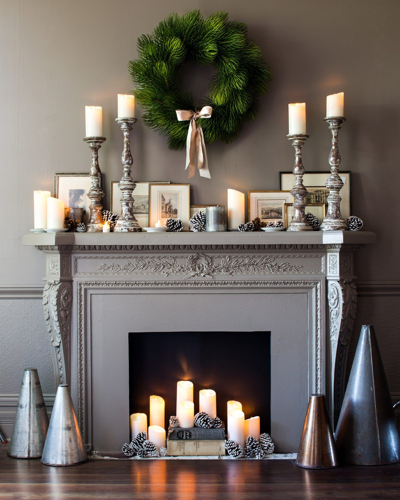 Decorating Fireplaces With Candles: Ivory Smooth Flicker Candle Pillar (Unscented, LED