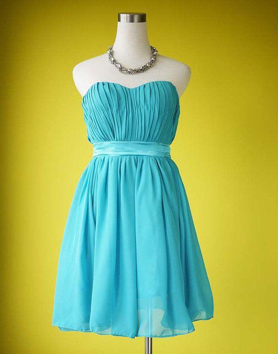 Turquoise bridesmaid dress tea length wedding by prototypedesign, $50.00 - bridesmaid dress?