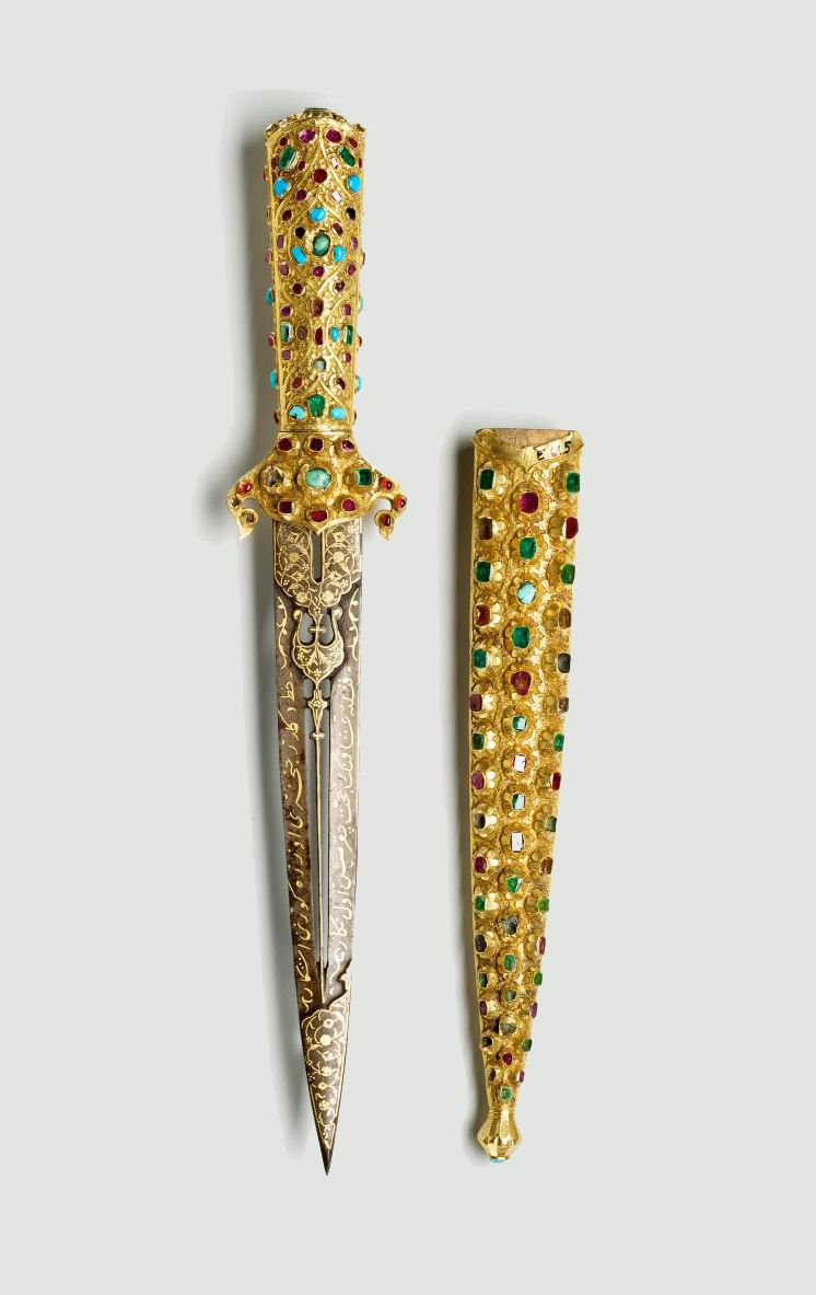 Ceremonial dagger, early 17th century. Turkey. Steel, silver-gilt, ruby, emerald, turquoise. Via Museum of Applied Arts, Budapest