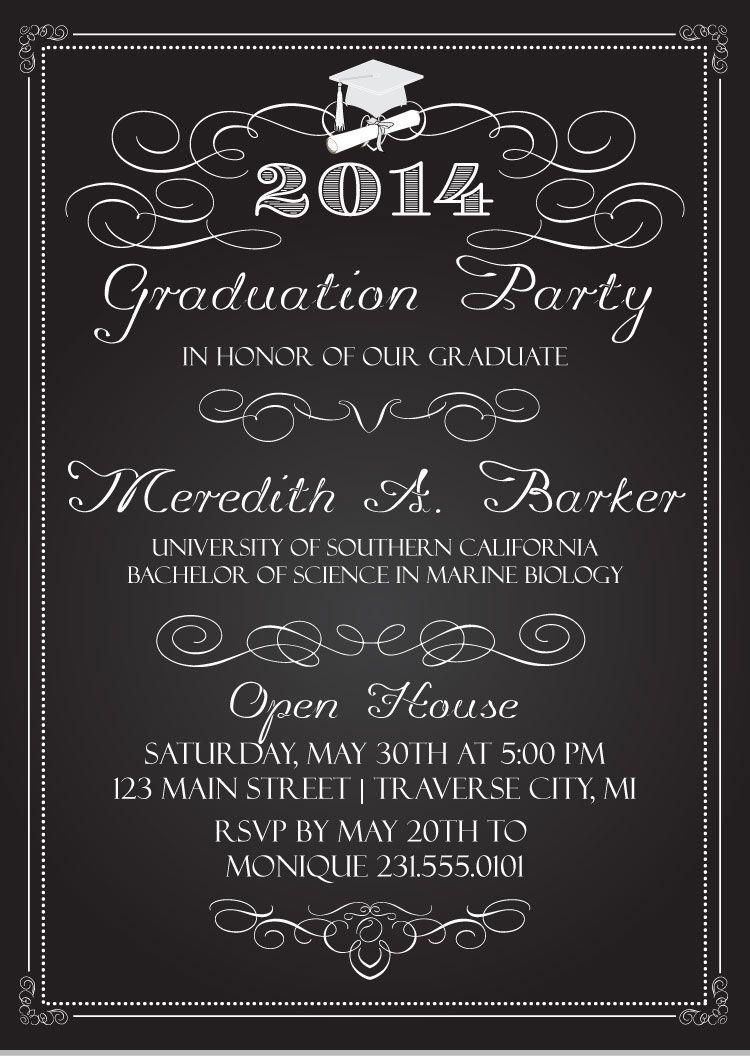 Chalkboard Graduation Invitations | Vintage chalkboard, Chalkboards ...