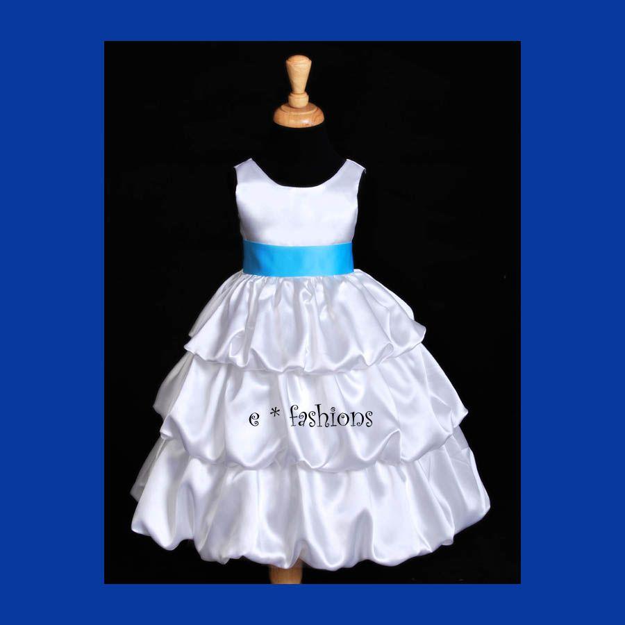 White blue flower girl dress here comes the bride pinterest