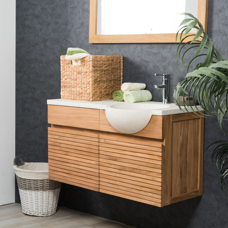 Meuble avec vasque de salle de bain en teck 100 CONTEMPORAIN cr¨me