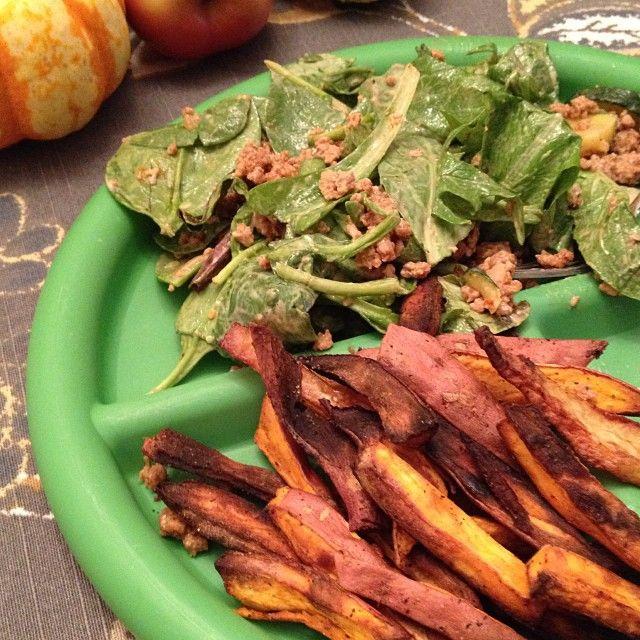 BBQ turkey salad and sweet potatoes